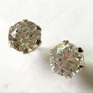 Sterling Silver CZ Stud Earrings 925